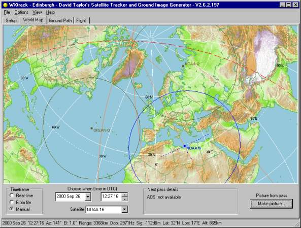 Using The WXtrack Program - World map program
