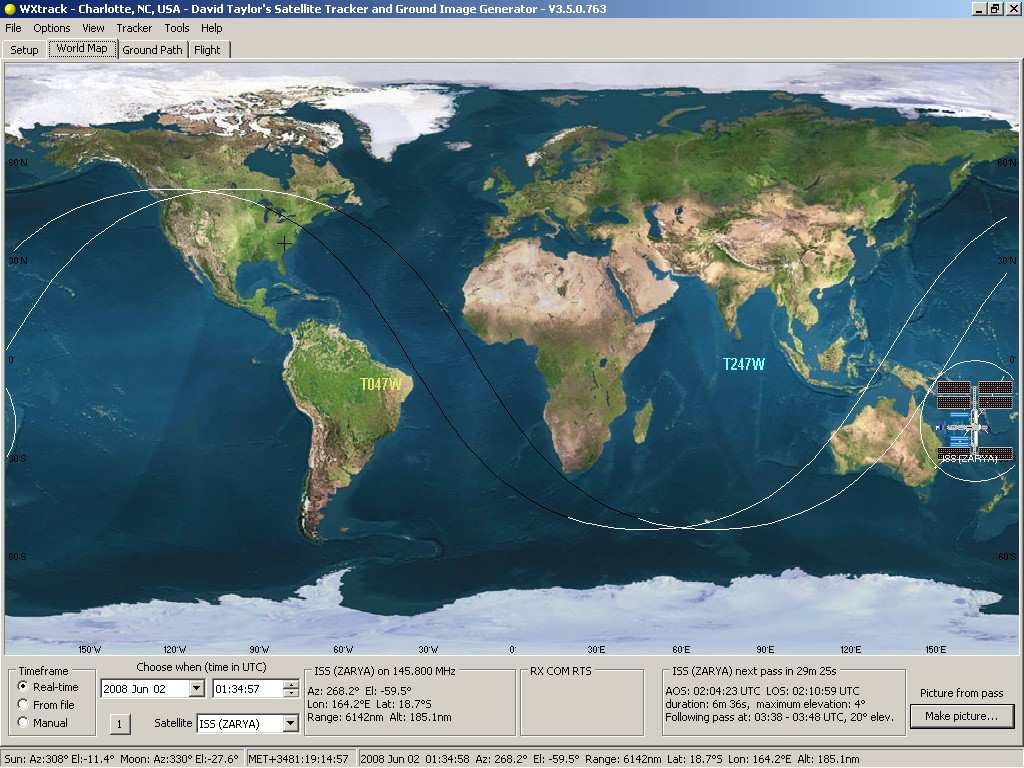 WXtrack - predicts satellite positions and ground path ... on nasa world map, pangea map, telecom world map, endangered animals around the world map, weathered world map, digital world map, planet world map, cricket world map, zoom world map, ham radio world map, security world map, hd world map, neon world map, blue world map, china coal power plants map, solar world map, topographic world map, footprint world map, glaciers on world map,