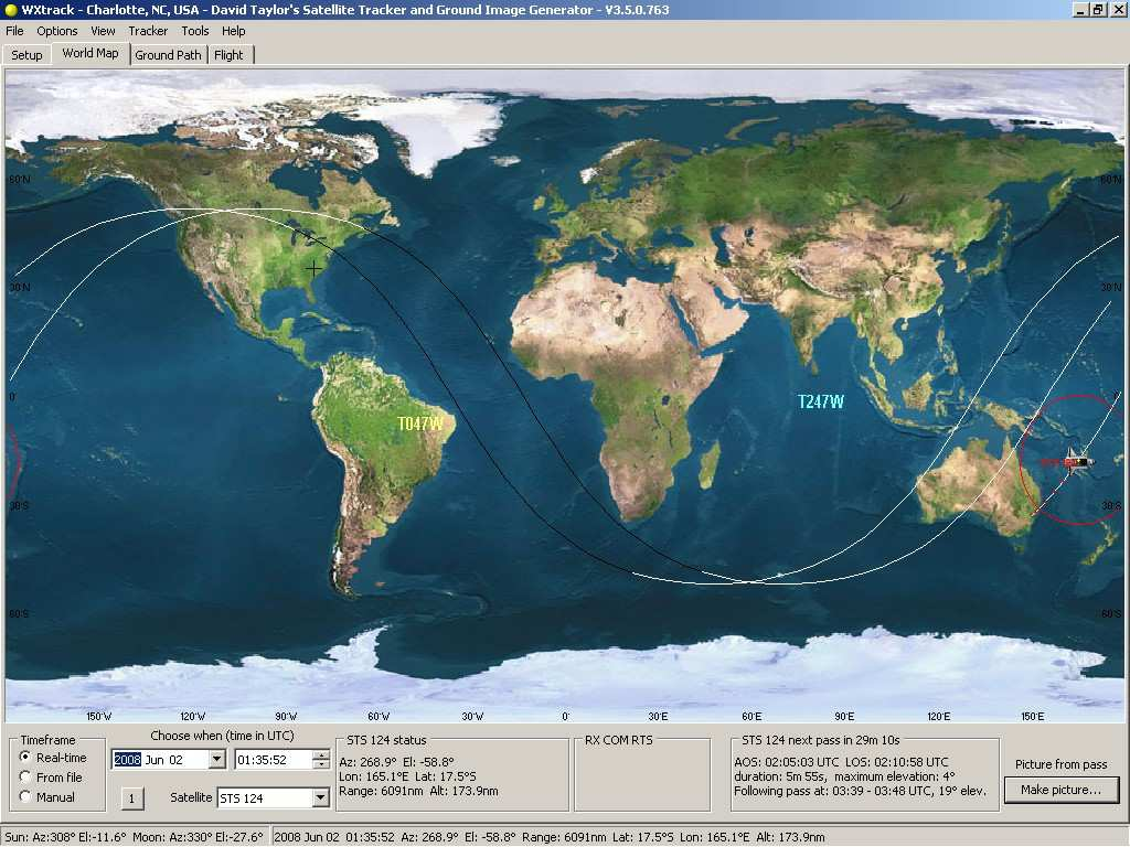 WXtrack - predicts satellite positions and ground path